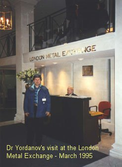 Dr Yordanov's visit at the London Metal Exchange (LME) - March 1995.
