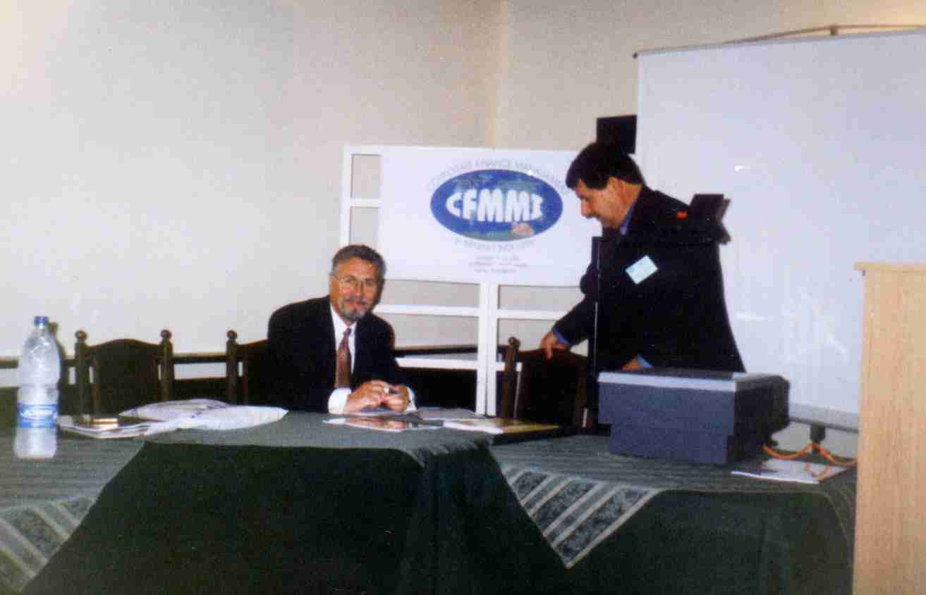 CFMMI 2002 International Conference inauguration. Dr Miroslav A. YORDANOV (right) and Prof. Emil CONSTANTINESCU 1996-2000 Romania President (left)